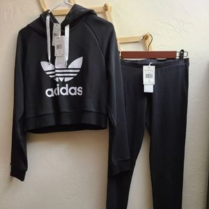 New Adidas crop tops  hoodie set